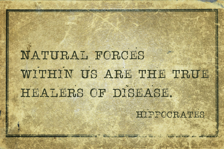Natural forces within us are the true healers of disease - famous ancient Greek physician Hippocrates quote printed on grunge vintage cardboard
